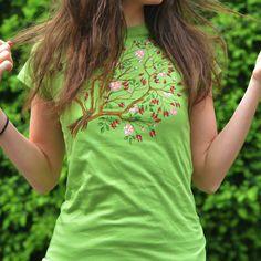 "Tricou ""OrganicJoy"" / ""Macesul"" Floral Tops, T Shirt, Women, Fashion, Supreme T Shirt, Moda, Tee, Women's, Fashion Styles"