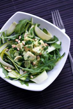 Courgettes, avocado, and rocket salad.