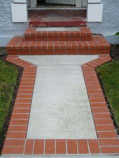 Diy Concrete Patio, Brick Paver Patio, Outdoor Walkway, Concrete Driveways, Concrete Walls, Brick Design, Patio Design, Brick Sidewalk, Brick Driveway