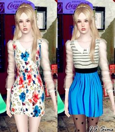 Transparent Sleeves Dress at JS Sims 3 - Sims 3 Finds