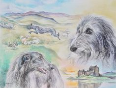 Scottish Deerhounds from an original Pastel and Pencil Drawing by Gail Dolphin https://fineartamerica.com/featured/scottish-deerhounds-gail-dolphin.html
