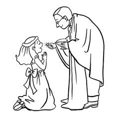 First Communicant Catholic Coloring Page