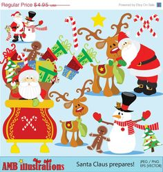 Christmas Santa clipart santa clip art by AMBillustrations. If you want access to freebies and contests go like our Facebook page: https://www.facebook.com/ambillustration  #vectorgraphic #digitalscrapbooking