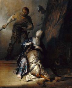 In dit schilderij is er sprake van een zeer sterk licht -donker contrast. De persoon in het midden is veel lichter afgebeeld dan de rest van het schilderij en valt veel meer op