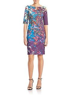 Teri Jon by Rickie Freeman Printed Scuba Sheath Dress - Color - Size 8