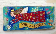 Adapt this to stained glass.   Folk Art Angel Original Painting on Reclaimed Wood by evesjulia12, $98.00