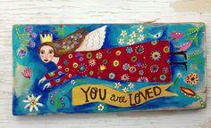 Folk Art Angel Original Painting on Reclaimed Wood by evesjulia12, $98.00