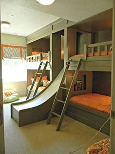 bunk Room for Boys with tunnel under the slide