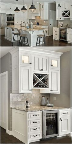 Beautiful white kitchen with ample storage and lots of added features.