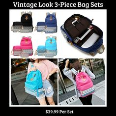 "This is a beautiful vintage themed 3-piece back pack set. Set is available in four colors: Black, Cobalt Blue, Cyan & Deep Pink.     The item is made of canvas material with zipper closures.     The measurement of the large main bag is as follows: 12"" Length, 17"" Height, 6"" Width.    **Please Note** This item requires three (3) weeks to ship.  Please take the shipping time into consideration if you are ordering for a particular event or particular date. We are unable to ship these any sooner…"