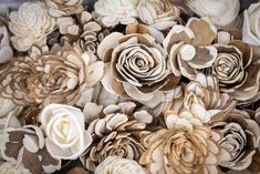 """Featuring an assortment of 50 flowers, this Woodland Assortment is perfect for those looking for a variety of skin and no-skin flowers. With flowers ranging in size form 1""""-3"""", this rustic assortment is great for building up your wood flower collection. Use these flowers to create wood fower bouquets, centerpieces, or add to your craft projects. #diyflowers #woodflowers #solawood #diycraft #craftideas #diy #preservedflowers"""