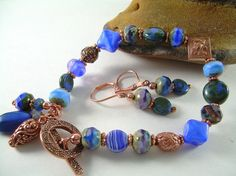 Moody Blue  Picasso & Copper Bead Bracelet by JewelFireDesigns, $42.00