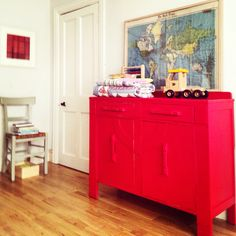 Vintage map and painted Art Deco sideboard in #AnnieSloanChalkPaint™