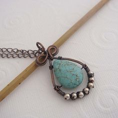 Samora wire wrapped copper and turquoise necklace