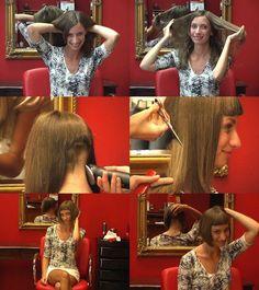 Long Hair Cut Short, Short Bangs, Short Hair Styles, Angled Bob Haircuts, Stacked Bob Hairstyles, Cool Hairstyles, Shaved Hair Cuts, Shaved Nape, Forced Haircut