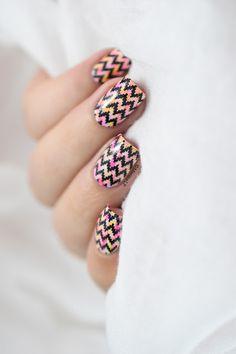Marine Loves Polish - Neon dry brush & chevrons nail art tutorial - BP-L018 - Peggy Sage Neon Pink & Yellow