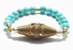 Beaded Bracelet with Turquoise Howlite Semiprecious by rockstarsz, $26.99