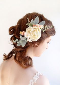 wedding hair piece, bridal headpiece, ivory hair flower, hair accessories, cream hair clip, blush pink, peach hairpiece, hair piece, sage by thehoneycomb on Etsy https://www.etsy.com/listing/225878802/wedding-hair-piece-bridal-headpiece