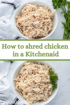 Want to learn how to quickly shred chicken? Using your kitchenaid you can take cooked chicken and shred it perfectly in under a minute. Shredded Chicken Recipes, Cooked Chicken, Easy Chicken Recipes, How To Cook Chicken, Good Healthy Recipes, Lunch Recipes, Healthy Snacks, Convenience Food, Learn To Cook