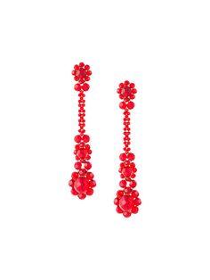 Red long stoned earrings from Simone Rocha