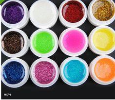 12 colors Transparent Pure Big Glittery UV Gel Extension DIY Builder Nail Art