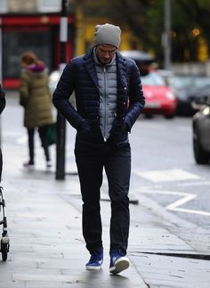 David Beckham wearing Moncler Baumier Quilted Nylon Jacket and Adidas Originals Basket Profi Sneakers