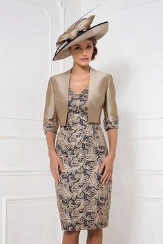 John Charles 25787 Lace Overlay Dress & Jacket in Navy/Nutmeg & Rosewood/Nutmeg