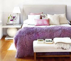 purple and gray love the fur throw