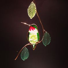 Large Leaf Birds Hummingbird by BirdsAndBugs1 on Etsy, $25.00