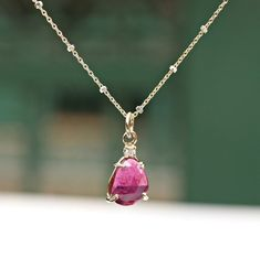 14k Gold Ruby and Diamond Necklace, Rose Cut Natural Ruby Pendant, Freeform Ruby