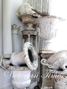 Chic Shabby and French Urns-Architectural Salvage French Decor, French Country Decorating, French Chic, Estilo Shabby Chic, Garden Urns, French Country House, French Cottage, French Farmhouse, Ivy House