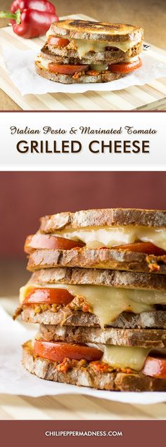 Italian Pesto and Marinated Tomato Grilled Cheese Sandwich - A comfort food classic grilled cheese recipe with an Italian spin, made with balsamic marinated tomatoes, roasted red pepper pesto, and Italian cheeses.
