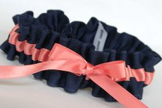 Love this pretty navy and coral garter. Simple, and something blue!