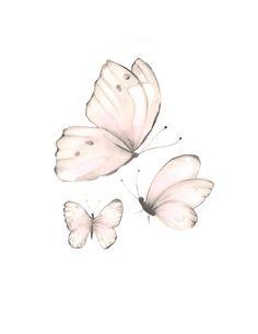Butterfly Nursery Art, Baby Girl Nursery, Pink Butterflies, Set of 2 Butterflies, Pink Baby Wall Dec Butterfly Nursery, Butterfly Wall Art, Butterfly Painting, Butterfly Wallpaper, Pink Butterfly, White Butterfly Tattoo, Simple Butterfly, Butterfly Tattoo Designs, Monarch Butterfly
