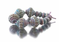 copper green ridged baroque beads