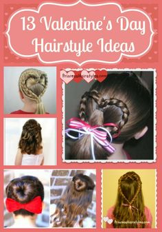13 valentines day hairstyle ideas for girls Valentine's Day Hairstyles, Cute Hairstyles For Medium Hair, Princess Hairstyles, Braided Hairstyles For Wedding, Little Girl Hairstyles, Medium Hair Styles, Short Hair Styles, Hairstyle Ideas, Hair Ideas