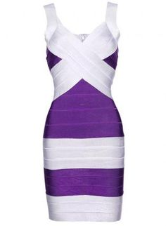 Purple Cocktail Dress - Bqueen Purple and Silver Bandage  $99