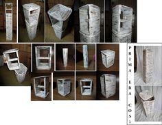 Cesto: canne di carta intrecciate, colore bianco con sfumature marroni. Materiale: carta di riciclo, cartone di riciclo. Ci stanno 6 rotoli di carta igienica + 1 nel portarotolo. MODIFICATO SU RICHIESTA. NON PIU' DISPONIBILE.