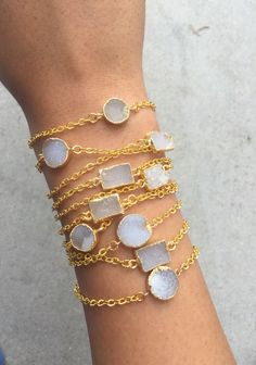 A personal favorite from my Etsy shop https://www.etsy.com/listing/252729354/gold-minimalist-bracelet