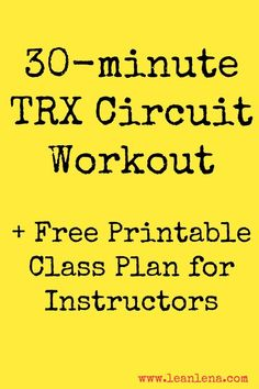 TRX Circuit Workout Plan for TRX instructors to use in their TRX Training classes. Just 30 minutes of hard work, sweat and dedication! paleo for beginners inspiration Trx Training, Circuit Training, Training Classes, Strength Training, Weight Training, Trx Workout Plan, Tabata Workouts, Hiit, Trx Gym