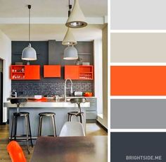 20 perfect color combinations to brighten up your kitchen | Favorite: orange and grey