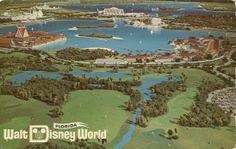 1971 postcard of Magic Kingdom and the resorts.