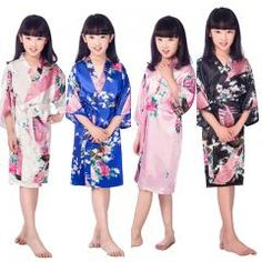 [ 32% OFF ] A1686 Satin Pajama Kid / Children Sleepwear Wedding Flower Girls Gown  Kimono Robes Peacock Nightgown
