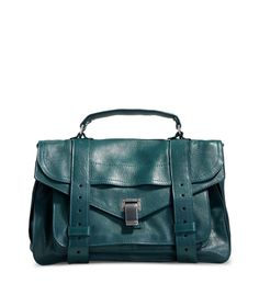 Designer Clothes, Shoes & Bags for Women Blue Shoulder Bags, Shoulder Handbags, Leather Shoulder Bag, Leather Satchel Handbags, Satchel Bag, Leather Bags, Blue Handbags, Green Leather, Proenza Schouler