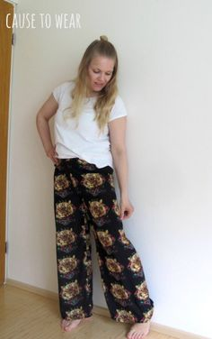 DIY wide-leg pants from an upcycled scarf.