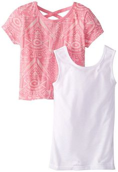 Girls DREAMSTAR Aztec Burn Out 2 Piece Tank Top Set Neon Pink White Size 5 5T