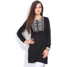 Biba Casual Full Sleeve Solid Women's Kurti (Black) - 7483 Size: 34  GENERAL DETAILS[-] Ideal ForWomen's OccasionCasual PatternSolid KURTI DETAILS FabricViscose DesignEmbroidery Detail StyleTie-up at Front NeckFashion Neck SleeveFull Sleeve Side SlitsYes FABRIC CARE Do Not Wring, Medium to Hot Iron, Wash in Cold Water   1) Product Id: 7483 2) Free home delivery 3) Cash On Delivery