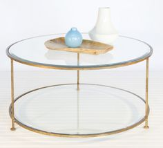 Coffee table - 2 tier gold leaf with beveled glass top