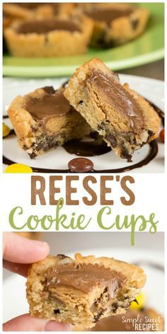Chocolate and peanut butter combined with a favorite chocolate chip cookie recipe to make the ultimate Reese's cookie cups treat that's easy and tasty!