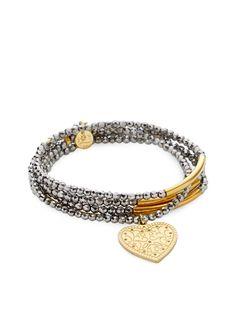 Set of 5 Hematite Heart Stretch Bracelets from Good Charma on Gilt